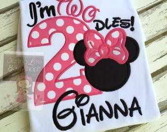 Twodles shirt, Miss Mouse Shirt -- second birthday shirt with number, Miss Mouse ears, and personalized with name in hot pink and black