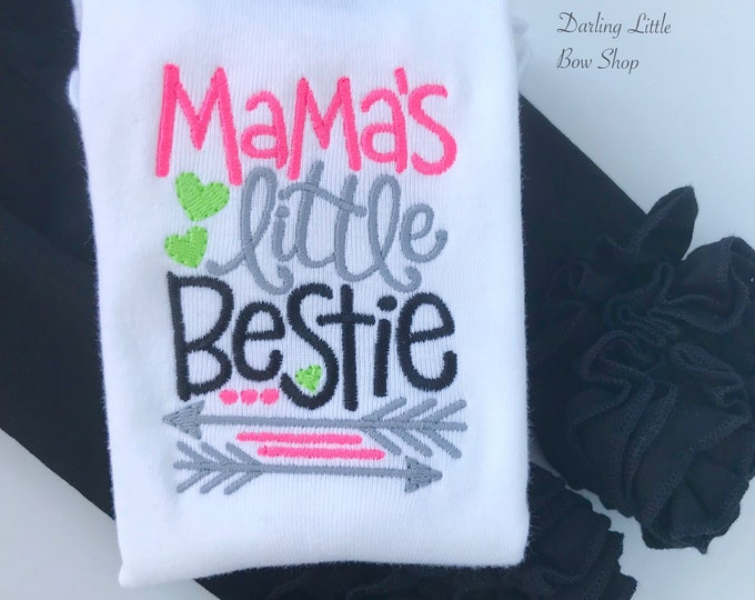Mama's Little Bestie Mother's Day shirt or bodysuit for girls -- sweet top in neon pink, lime green and black