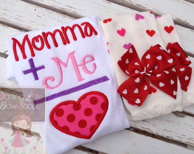 Baby Girl Valentines Day outfit with bodysuit and leg warmers for baby girls -- Momma's Girl in pink, purple and red