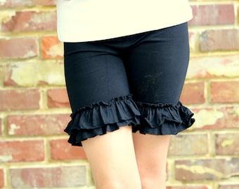 Black Ruffle Shorties, Basic Black Ruffle Shorts - knit ruffle shorties sizes 6m to girls 10 - Free Shipping