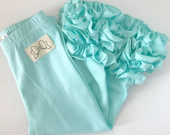 Ice Mint Ruffle Leggings - Mint Ruffle Leggings - gorgeous knit ruffle leggings - size NB to 10 with FREE SHIPPING