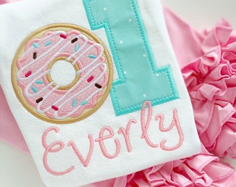 Donut Birthday Shirt or Bodysuit for Girls, Donut Grow Up birthday shirt in pastel pink and mint