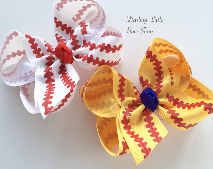 """Baseball bow, Softball bow, Baseball hairbow -- choose your team color for center, 4-5"""" or 6-7"""" or ponytail bow"""