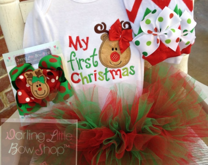 Baby Girl Christmas Tutu Outfit - My First Christmas - Tutu, bow, bodysuit & leg warmers - red and green with reindeer girl