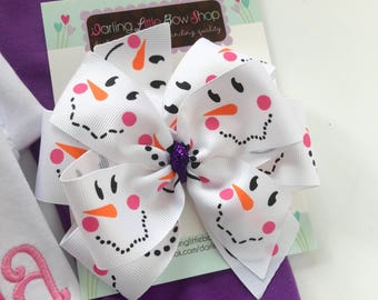 "Snowman Bow -- Sweet snowman hairbow in 4-5"" or 6"" size -- optional satin elastic headband"