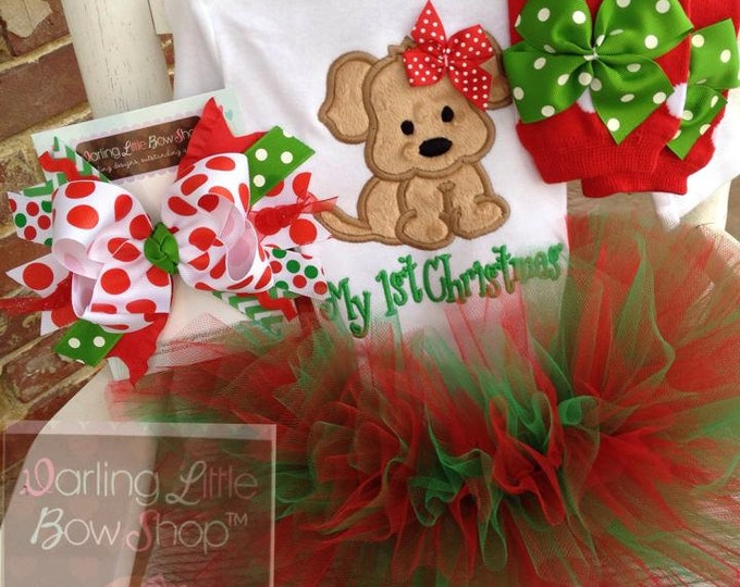 Baby Girl Christmas Tutu Outfit - Puppy For Christmas - Tutu, bow, bodysuit & leg warmers - red and green with sweet puppy