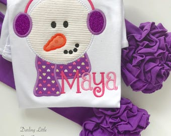 Girls Snowman shirt or bodysuit -- Winter Days -- snowman top in pink and purple with sparkly ear muffs