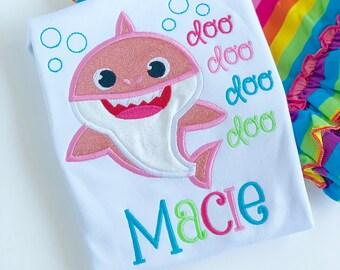Baby Shark shirt, tank or bodysuit for girls -- Pink Baby Shark doo doo doo doo in rainbow colors