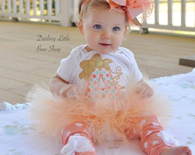 Tutu outfit for baby girls - Peaches & Cream - personalized bodysuit, leg warmers, tutu and bow -- peach, coral, mint and gold