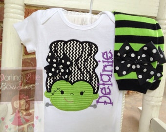 Baby Girl Halloween outfit, bodysuit and leg warmers - Monster Mash - Bride of Frankenstein in lime green, purple & black