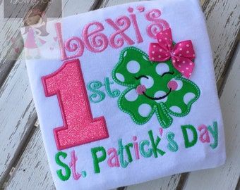 My 1st St. Patrick's Day Shirt or bodysuit for girls--- personzalized in pink, hot pink, emerald and mint with smiling shamrock