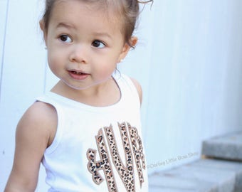 Girl or Baby Girl Shirt, Tank or Bodysuit with name - Ruffle Monogram, beautiful scalloped edge monogram in leopard print