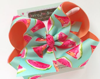 "Watermelon bow, Watermelon hairbow in pastel mint, coral and hot pink -- choose 4-5"" or 6-7"" bow -- Large hairbow with optional headband"