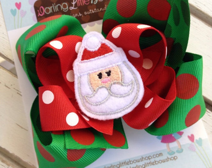 Christmas Bow with red and green jumbo polka dots -- Choose Reindeer or Santa center