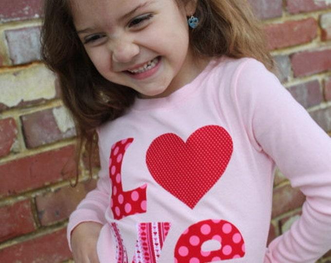 Valentine Shirt  - Valentine LOVE - pink shirt with hand cut applique