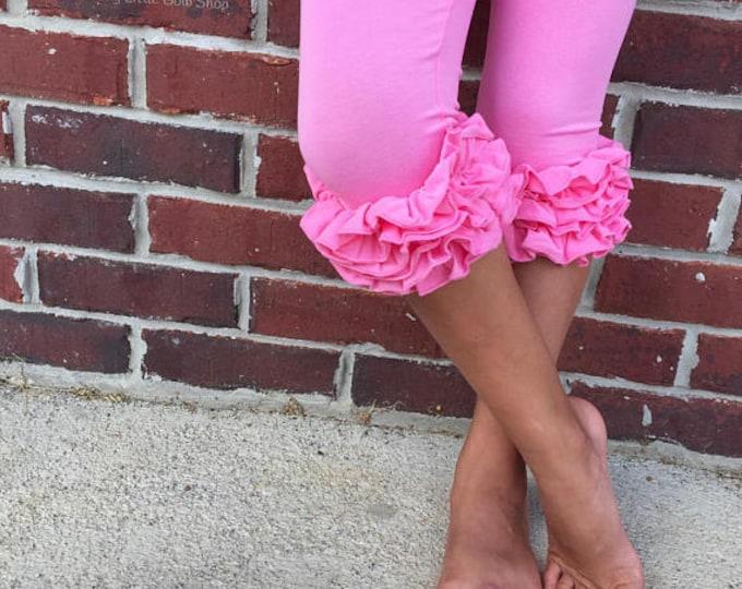 Ruffle Capris - Bubblegum Pink - knit ruffle capris sizes 6m to girls 8 - Free Shipping