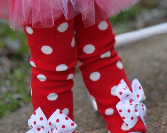 Baby Girl Leg Warmers - Christmas or Valentines Day- red and white polka dot and polka dot bows
