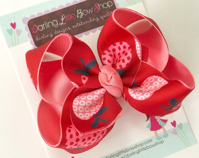 "Hairbows to match Wildflowers Clothing Pocketful of Wonder - Big Apple  - choose 4-5"" or 6"" bow"