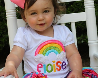 Rainbow shirt or bodysuit for girls -- Counting Rainbows -- bright colors with beautiful rainbow and name, hot pink, turquoise, bright green