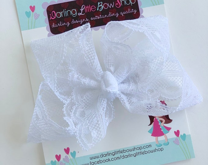 """White Lace hairbow -- white 4"""" lace bow, christening bow, baptism bow"""