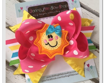 Sunshine Bow - You Are My Sunshine - Hot pink, yellow and aqua hairbow with adorable, sun center by Darling Little Bow Shop