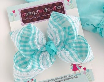 "Aqua Gingham and Lace hairbow -- choose 4"" or double stack bow"