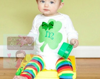 Girls St. Patrick's Day Outfit --  Lucky Little Girl  -- baby girl Over The Top bow, personalized bodysuit and rainbow leg warmers