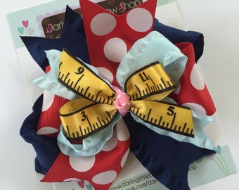 Hairbow for Back To School -- Sweet to the Core -- navy, red, pink and light blue with ruler accent ribbon