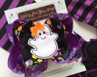 Ghost Bow, Ghost Hairbow, Shake Your Boo Thang - purple sequin bow stacked with Halloween polka dot and sweet ghost center