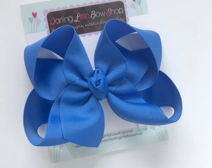 "Cornflower Blue Bow -- cornflower blue hairbow -- choose 3"" 4"" 5"" or 6"" bow -- AMAZING quality handmade in Tennessee"
