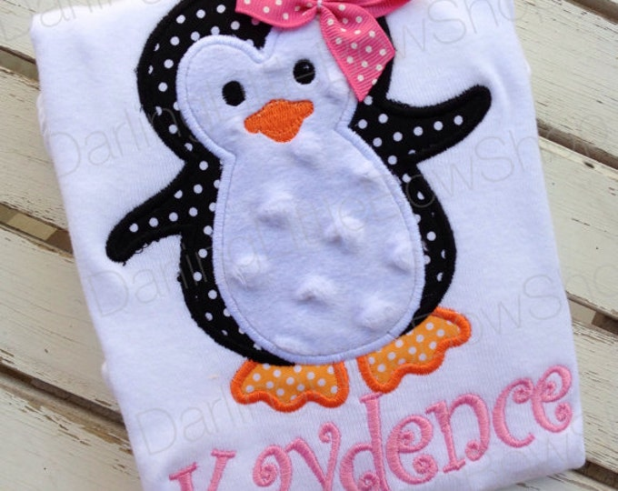 Penguin Bodysuit OR Shirt for Girls -- Pink Penguin -- pink and hot pink -- for Christmas and Wintertime