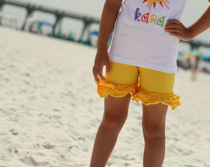 Yellow Ruffle Shorties, Yellow Ruffle Shorts - knit ruffle shorties sizes 6m to girls 10 - Free Shipping