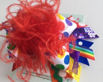 Circus Theme Over The Top Bow in rainbow colors -- Come One, Come All -- gorgeous polka dots and sparkle with red curly feathers
