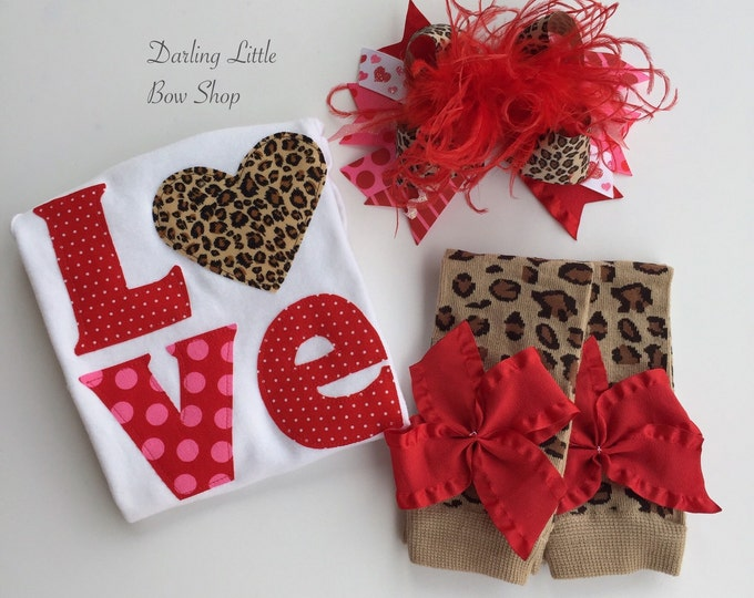 Baby Girl Valentine Outfit SET -- Valentine Glam -- Over the Top Bow, Leg Warmers and Leopard Love Bodysuit