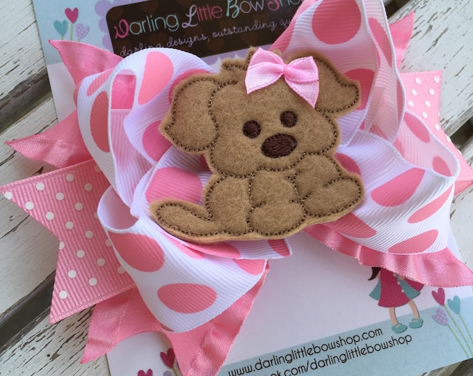 Puppy Bow -- Puppy PAWty Puppy theme bow in pink polka dots -- choose 2 for pigtails -- color changes available