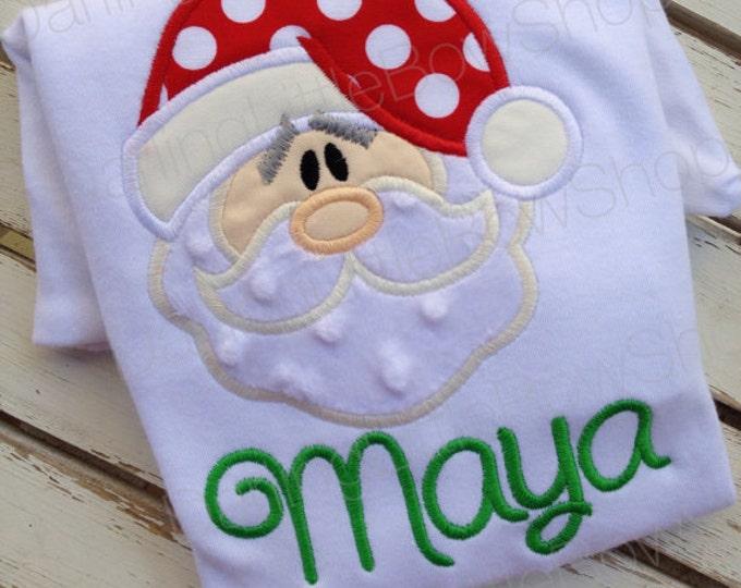 Santa Claus Bodysuit OR Shirt for Girls -- Sweet Santa -- red and green