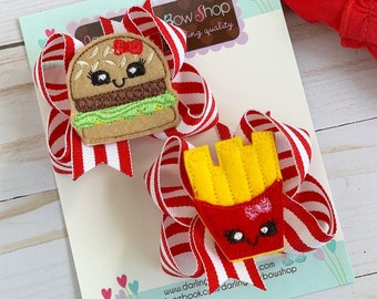 Burger and Fries Pigtail Bows - red and yellow hairbows
