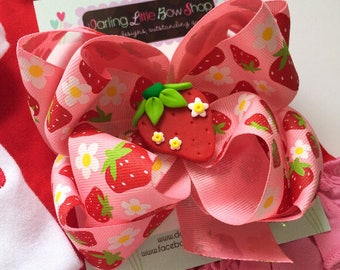 Strawberry Bow -- large double stack pink and red Strawberry haibow with clay strawberry center