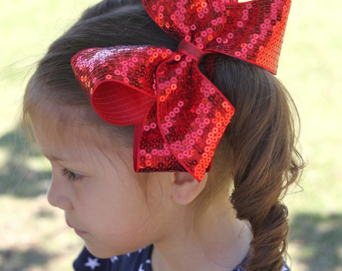 """Red Sequin Bow - BLING ribbon - STUNNING for Valentines' Day, Christmas, Fourth of July, etc choose 4-5"""" or 6-7"""""""
