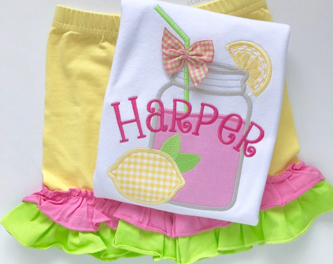 Pink Lemonade shirt, tank or bodysuit for girls -- sweet mason jar lemonade design in pink, yellow and lime