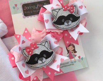 "Raccoon Bow, Raccoon Pigtails Hairbows  -- choose 3"" or 4-5"" bows"