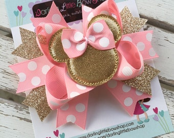 Miss Mouse Bow - Pink and Gold Miss Mouse Bow - Darling Little Bow Shop