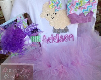 Baby Girl Easter Tutu Outfit -- Lavender Lamb -- soft Easter lamb bodysuit, tutu, Over The Top bow and leg warmers