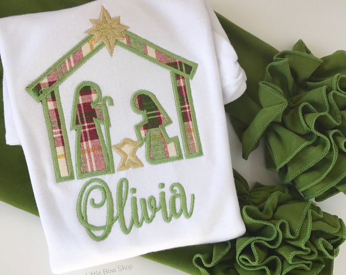 Girls Nativity shirt or bodysuit -- A Newborn King -- Nativity shirt in gorgeous cranberry, olive and gold fabric with her name