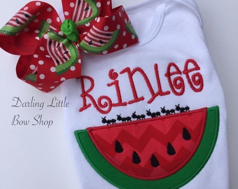 Watermelon shirt, tank top or bodysuit for girls -- Watermelon Picnic -- red and green applique with her name
