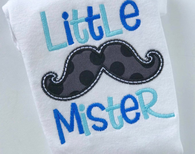Little Mister bodysuit or infant gown -- Newborn baby boy in blue with cute mustache -- Newborn take home bodysuit