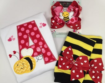 Baby Girl Valentine Outfit -- Bee Mine -- bee theme bodysuit, leg warmers, bow with headband
