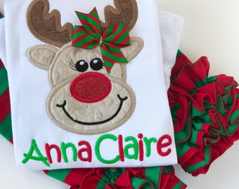 Girls Reindeer shirt or bodysuit -- Run Run Rudolf -- reindeer shirt in red and green with a sparkly nose, matching brother shirt available