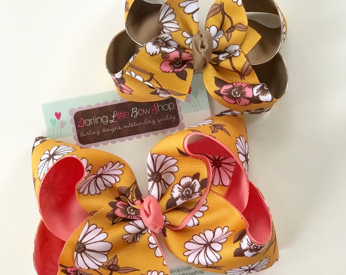 "Hairbows to match Wildflowers Clothing Pocketful of Wonder - Central Park  - choose 4-5"" or 6"" bow"