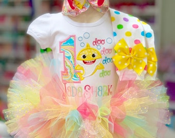 Baby Shark Birthday Outfit - pink, yellow, turquoise -- baby shark doo doo doo doo bodysuit, leg warmers, tutu, bow